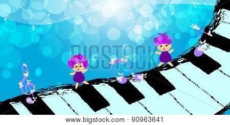 Children dancing on piano keyboard
