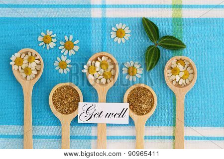 Get well card with dried and fresh chamomile flowers
