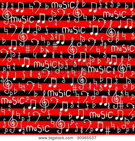 Music notes background.  Vector Illustration