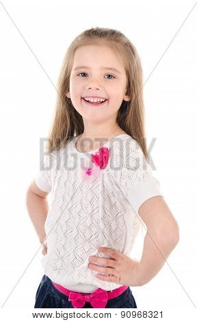 Portrait Of Smiling Cute Little Girl Isolated