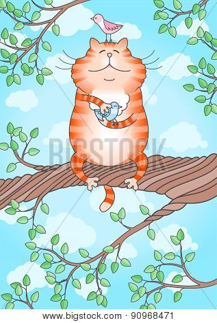 Funny Cat Holding Little Bird In Its Paws