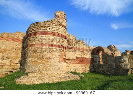 Ruined Walls Around The Old Nessebar Town, Bulgaria