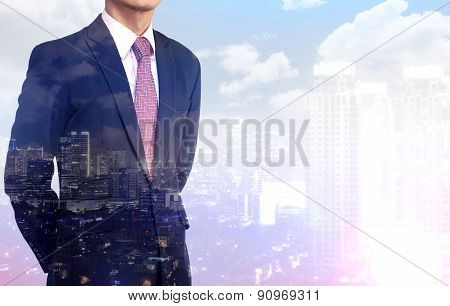 Multiple Exposure business man wearing black suit