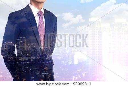 Multiple Exposure business man wearing black suit