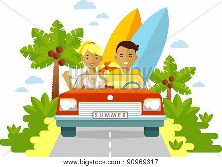 Young man and woman couple with surfboards traveling by the red car