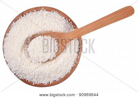 Shredded Coconut In A Wooden Bowl