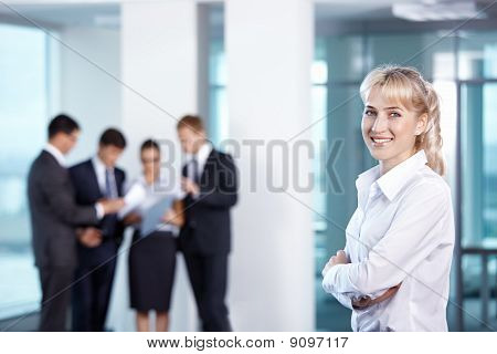 Girl On The Background Of Business