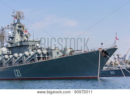 Ukraine, Sevastopol - September 02, 2011: The Flagship Of The Russian Black Sea Fleet Missile Cruise