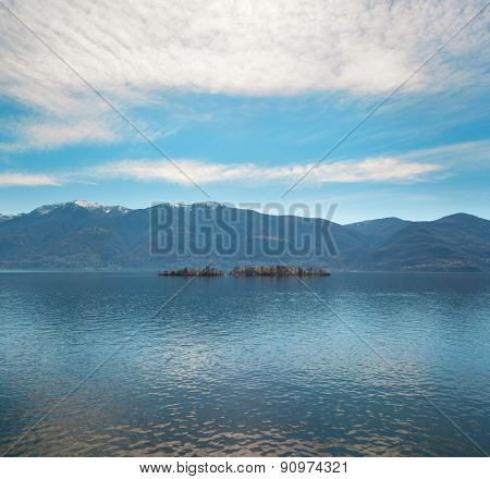 beautiful view of Locarno lake, Brissago islands