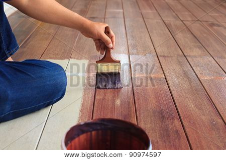 Hand Painting Oil Color On Wood Floor Use For Home Decorated ,house Renovation And Housing Construct