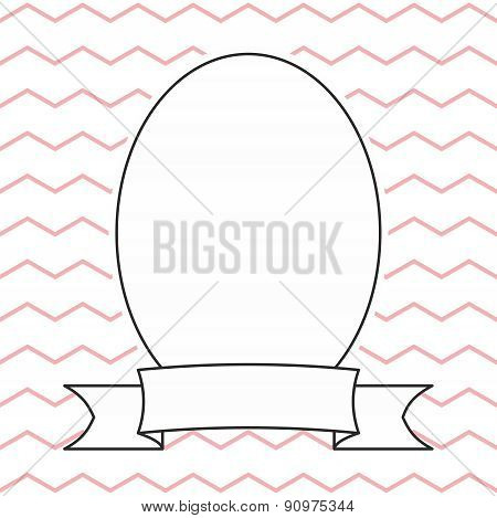 Vector frame on pastel pink and white zig zag background