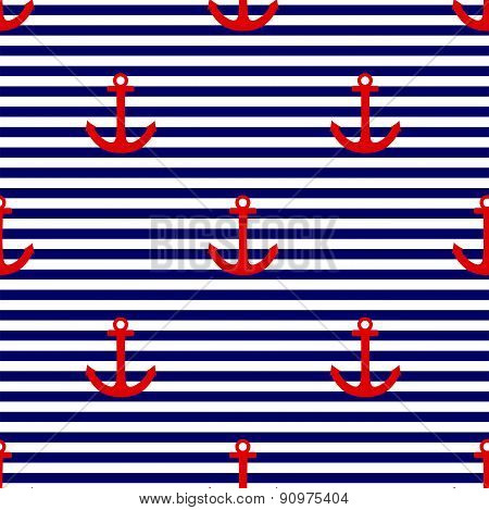 Tile sailor vector pattern with red anchor on navy blue and white stripes background