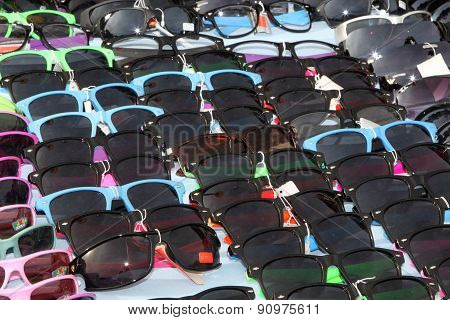 Colourful Sunglasses On Display At Stall