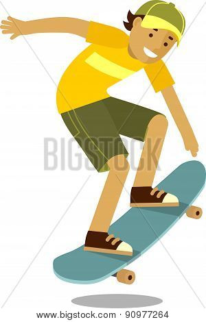 Skateboarder boy jumping on skateboard in flat style isolated on white background
