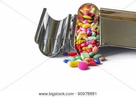 Colorful pills on counting tray