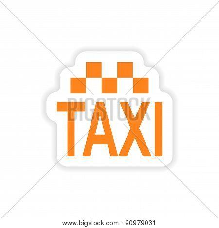 icon sticker realistic design on paper taxi