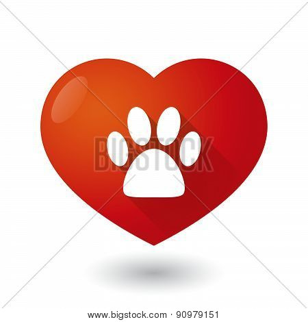 Heart Icon With An Animal Footprint