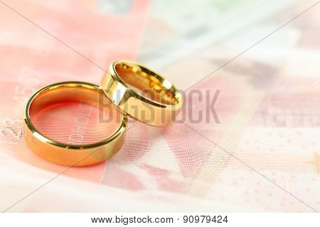 Golden wedding rings and credit card, close up. Marriage of convenience concept