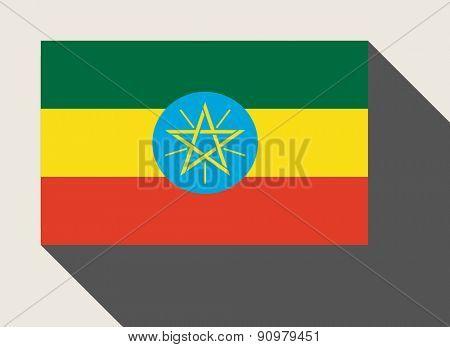 Ethiopia flag in flat web design style.