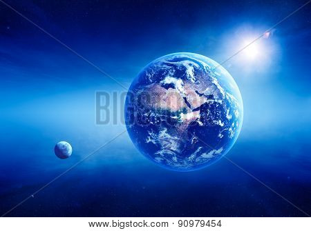 Blue Earth with sunrise in deep space -3D Render ( Elements of this image furnished by NASA - Cloudmap from http://visibleearth.nasa.gov )