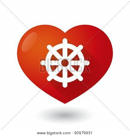 Heart Icon With A Dharma Chakra Sign