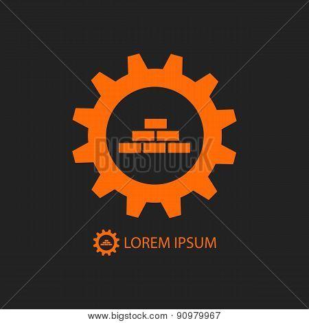 Orange construction logo wih gear wheel and bricks