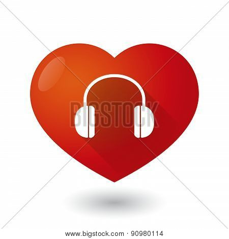Heart Icon With An Earphones
