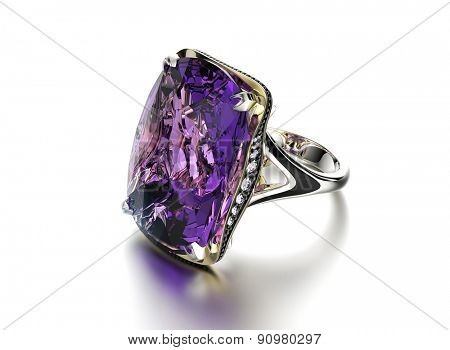Golden Ring with Amethyst. Jewelry background