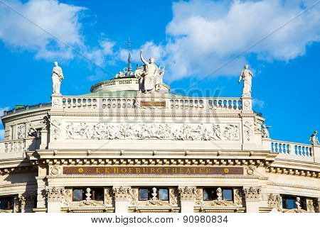 Statues at the front facade of Burgtheater, Vienna