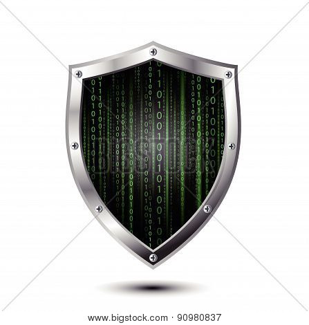 Metallic protection shield with binary