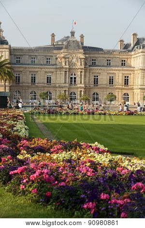 the Luxembourg Garden in Paris. Luxembourg Palace is the official residence of the French Senate.