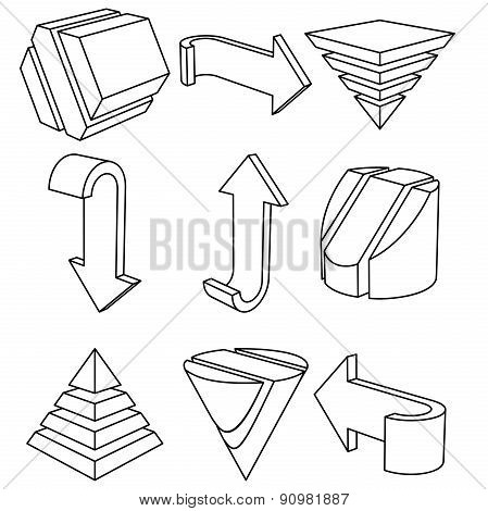 Geometric Shapes and Arrows, Vector Illustration