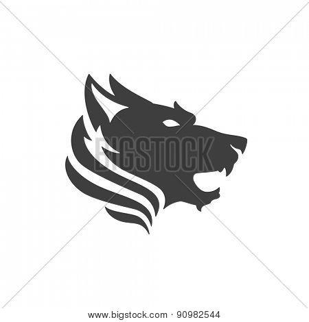Wolf face logo emblem template mascot symbol for business or shirt design. Vector Vintage Design Element.