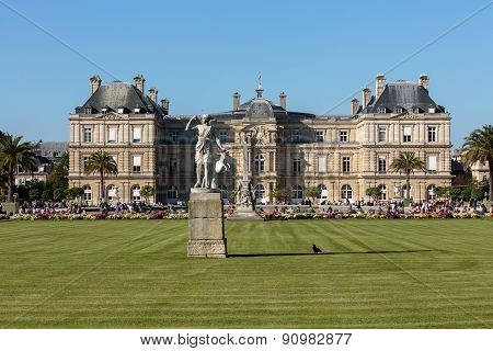 People relax in Luxembourg Gardens in Paris France. Luxembourg area is popular among tourists in Pa