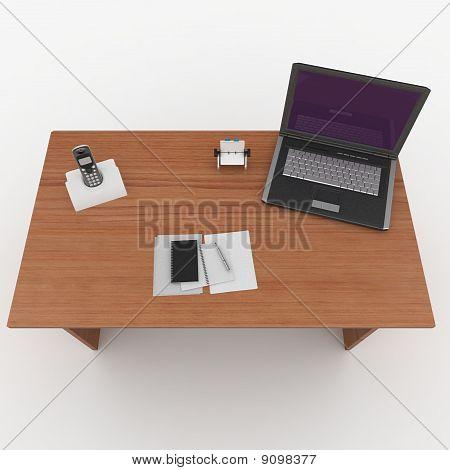 3D Office Desk With Laptop