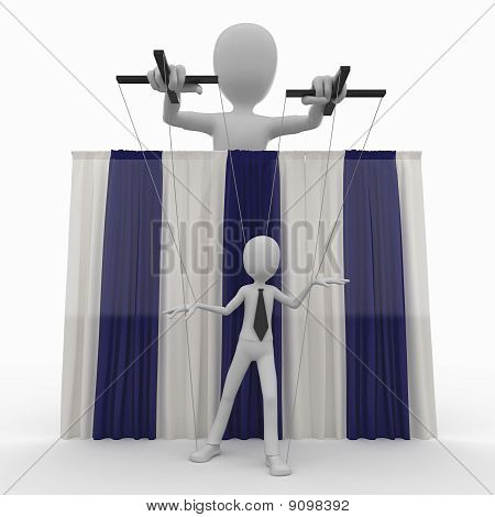 3D Man With String Puppet