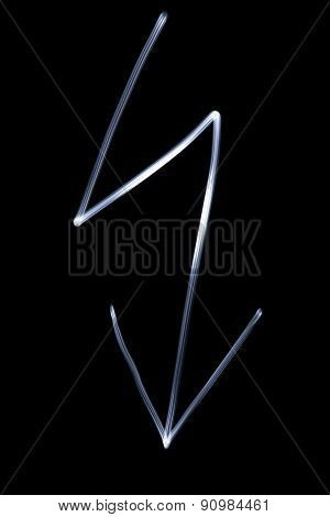 Flourescent Symbol Of A Lightning In White Neon Color