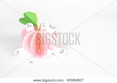 isolated paper food - pink apple with vitamin
