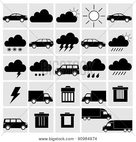 Vector Black Of Transport And Weather Icons Set On Gray