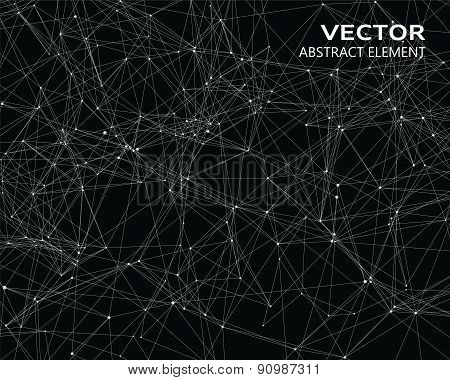 Digital Background With White Geometric Particles