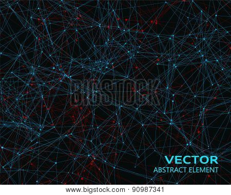 Vector Blue And Red Geometric Particles