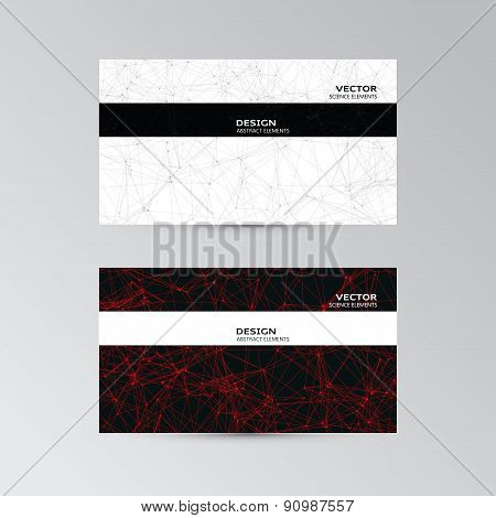 Template Of Business Cards With Abstract Elements