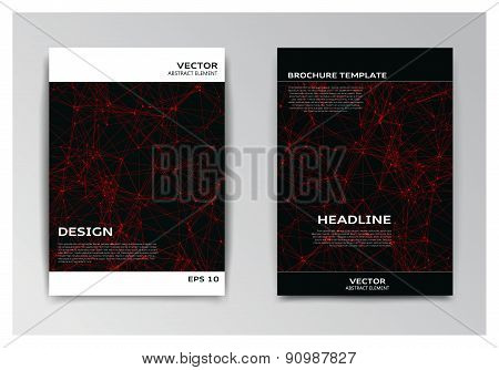Template Of Brochure With Abstract Red Particles