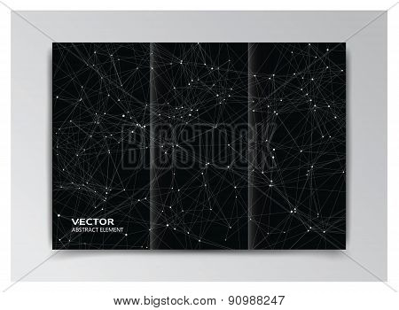 Black Template Of Booklet With Abstract White Elements