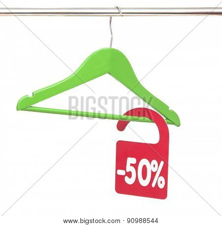 Coat hanger with discount tag