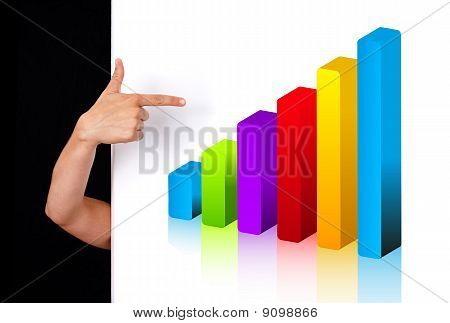 Woman Hand Pointing To Chart