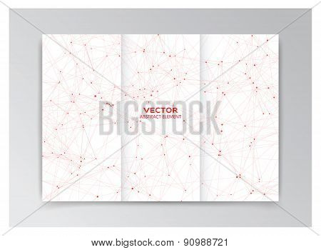White Template Of Booklet With Red Abstract Elements