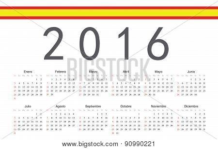 Spanish 2016 Year Vector Calendar