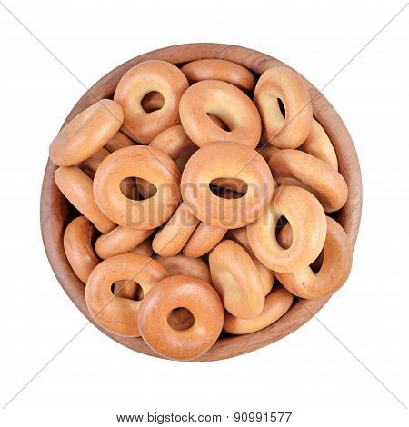 Bagels In A Wooden Bowl On A White Background