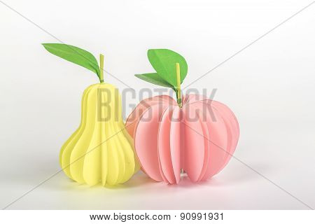 isolated paper fruits - an example of artificial food